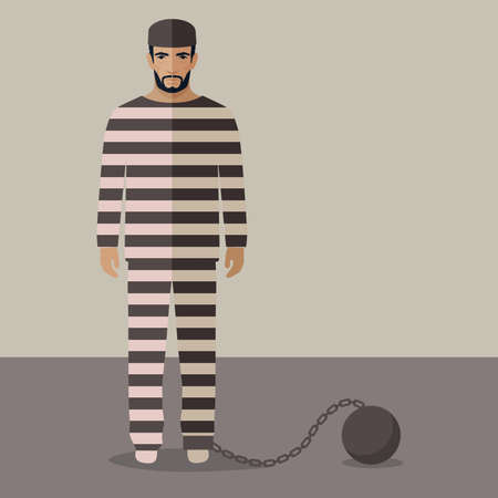 cartoon prisoner, flat vector illustration of prison cell,