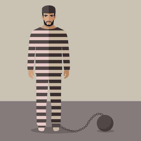 cartoon prisoner, flat vector illustration of prison cell,