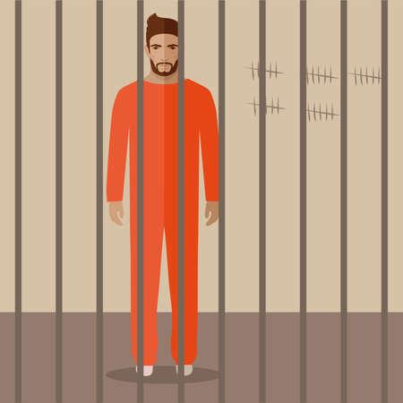 prison cell: prisonnier de bande dessinée, plat illustration vectorielle de cellule de prison,
