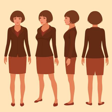 persona de pie: Vector de personaje de dibujos animados mujer, frontal, posterior y lateral de la secretaria