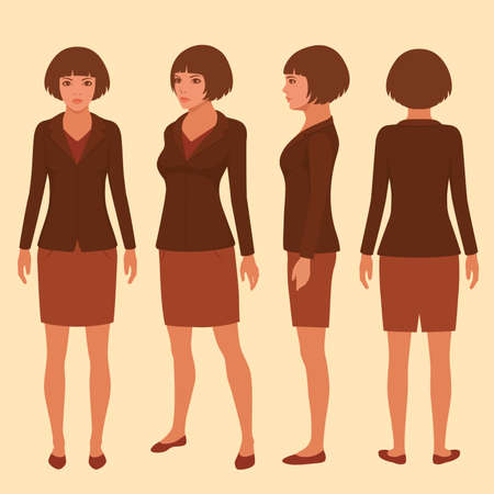 back: Vector woman cartoon character, front, back and side view of secretary Illustration