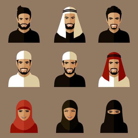 man face profile: set of flat muslim avatars, people icon arab, saudi characters