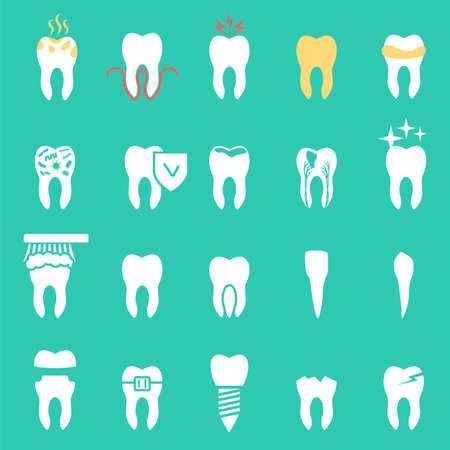root canal: tooth disease, set dentist, teeth icons