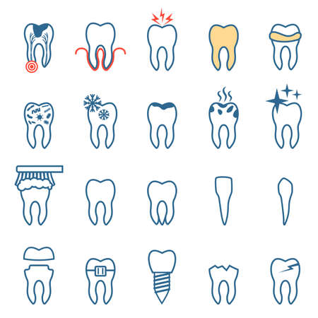 root: tooth disease, set dentist, teeth icons