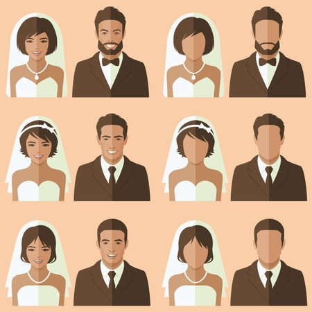 wedding face avatar, groom and bride portrait