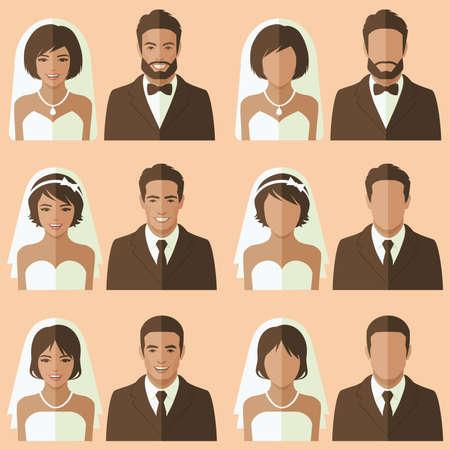 wedding face avatar, groom and bride portrait