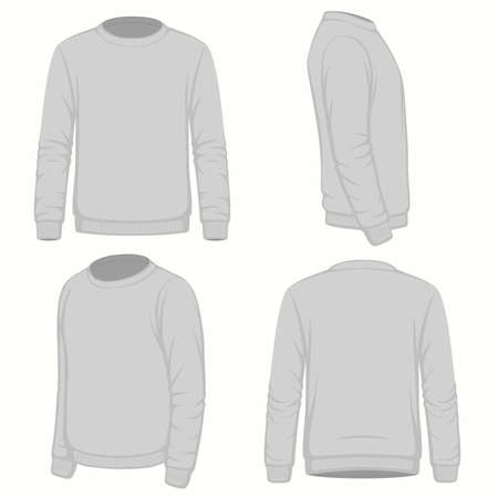 Front, back and side views of a blank hoodie sweatshirt.