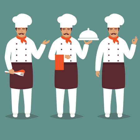 Set Cartoon Chief Cook Character. White restaurant profession uniform Modern Flat Design Vector Illustration Illustration