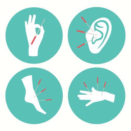 Acupuncture health icon, alternative medicine logo vector illustration,