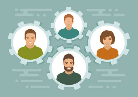 Smile people group, business team, team work concept Illustration