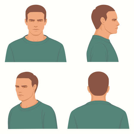 Vector man hairstyle, front, side, profile view of head character Vettoriali