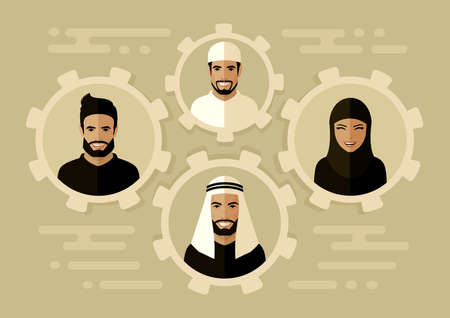 Smile arab people group, saudi business team, team work concept