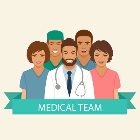 Medical team, doctor nurse and surgeon staff, hospital health profession group people, vector flat illustration
