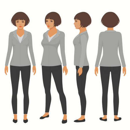 Vector woman cartoon character, front, back and side view of secretary Illustration