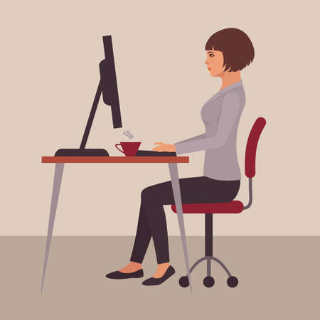 Secretary at the office, office business woman worker working on computer, vector illustration