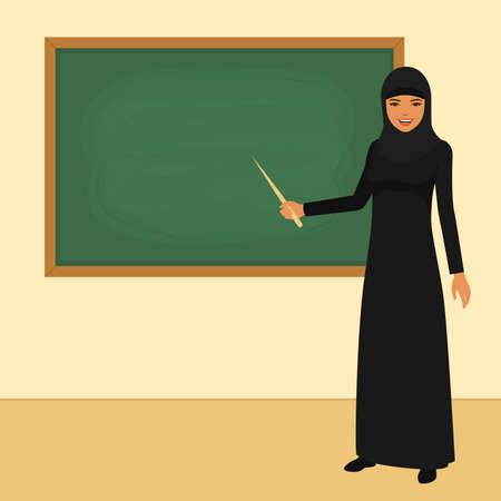 Vector illustration of classroom in school, arab teacher in front of board