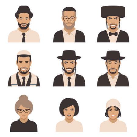 ユダヤ人の人々 の笑顔、ベクトル ラビ ユダヤ人の顔、正統派ユダヤ教イラスト  イラスト・ベクター素材