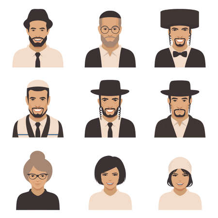 Smile jewish people, vector rabbi jew face, orthodox, judaism illustration Ilustração