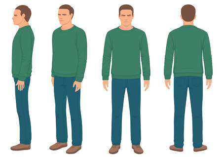 Man geïsoleerd, voor-, achter- en zijaanzicht, vectorillustratie