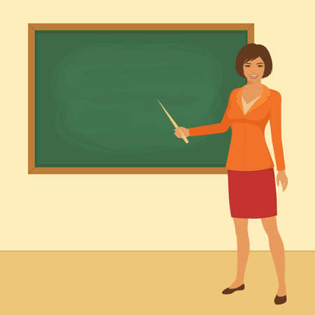 Vector illustration of classroom in school, teacher in front of board