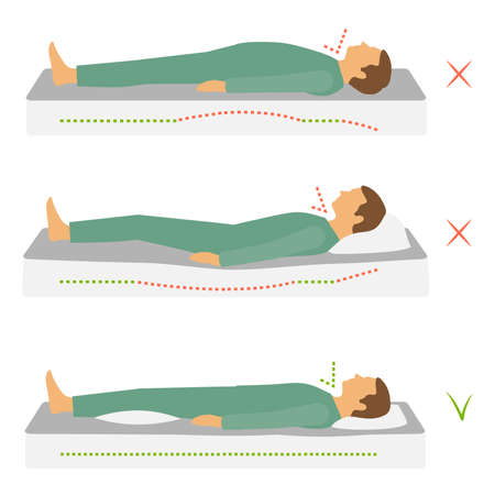 Sleep correct health body position, spine neck pain,