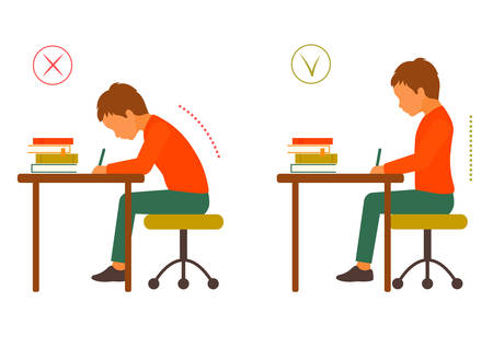 Sitting correct and correct body posture, healthy back Illustration
