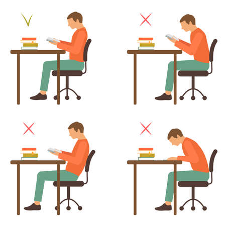 Correct position, reading posture, vector illustration Vectores