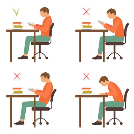 Correct position, reading posture, vector illustration Illustration