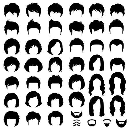 Woman and man hair, hairstyle vector silhouette Illustration