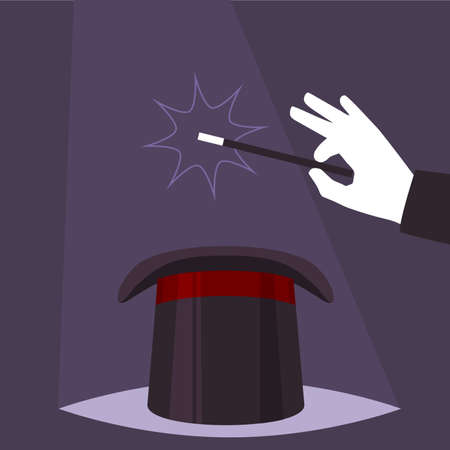 Magician show trick, man with magic hat, vector illustration