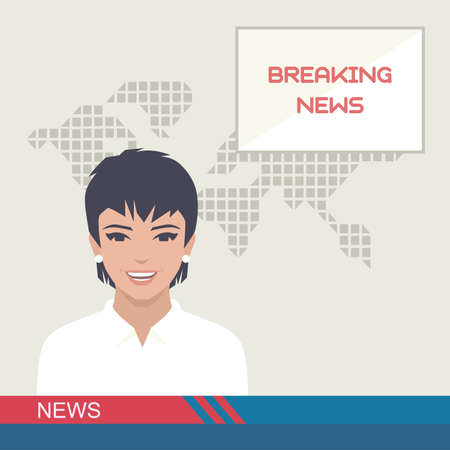 TV breaking news, studio reporter, media, vector illustration Illustration