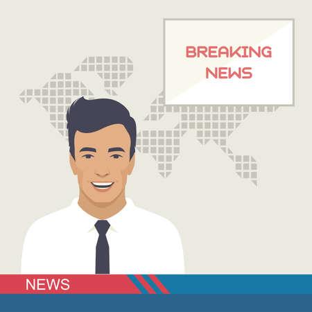 TV breaking news, studio reporter, media, vector illustration Illustration