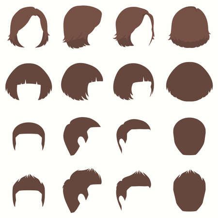 Woman and man hair, vector hairstyle silhouette, front and back view 일러스트