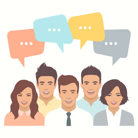 smile people group, business team, chat dialogue Illustration