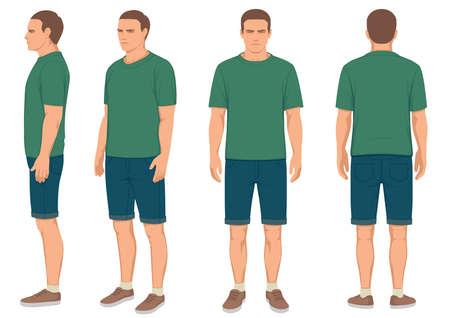 ファッション男前面、背面と側面