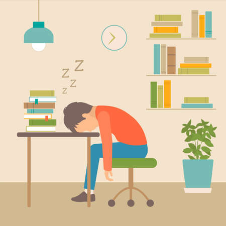 Sleeping boy at school illustration.