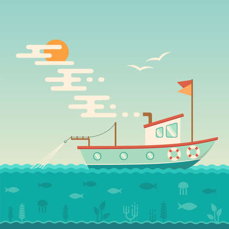 Vector illustration of a fishing boat at the sea Illustration