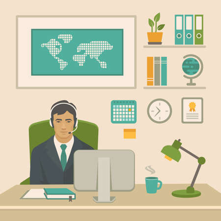 Businessman at work. Office worker man behind a work desk and computer. Vector illustration of a flat design.