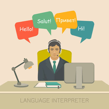 Interpretation with speech bubbles in different languages. Communication, translation, assistance and connection vector concept