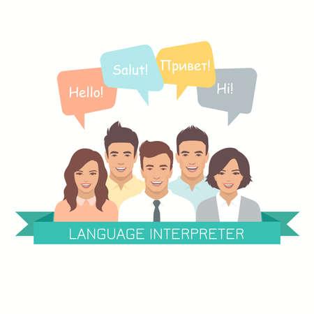 異なる言語での吹き出しによる解釈。男性と女性は、現代的なデザインスタイルでアバターに直面しています。コミュニケーション、翻訳、チーム  イラスト・ベクター素材