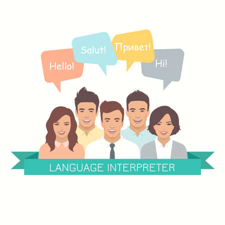 Interpretation with speech bubbles in different languages. Male and female faces avatars in modern design style. Communication, translation, teamwork, assistance and connection vector concept