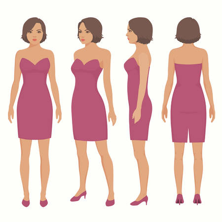 Fashion vector illustration, woman in dress, front, back and side view 일러스트