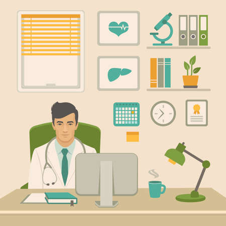 Doctor in office Vector illustration of a flat design.