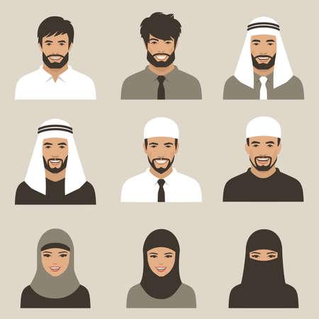 Ensemble d'avatars musulmans plats, icônes de personnes vectorielles Banque d'images - 90153746