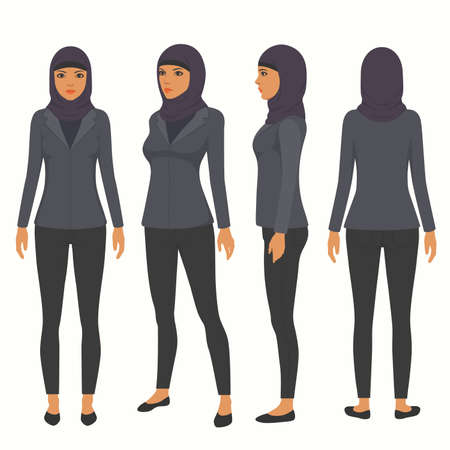 Femme musulmane portant le hijab. Personnage de dessin animé de femme d'affaires arabe Banque d'images - 90574950