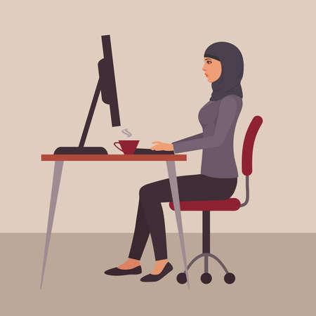 Portrait of a beautiful business woman wearing hijab Çizim