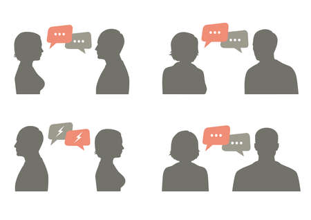 talk icon vector illustration. Couple talking with speech bubble, communication concept