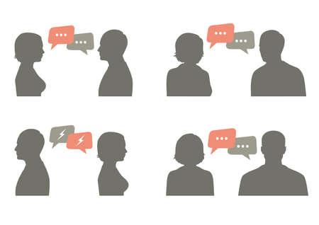 talk icon vector illustration. Couple talking with speech bubble, communication concept