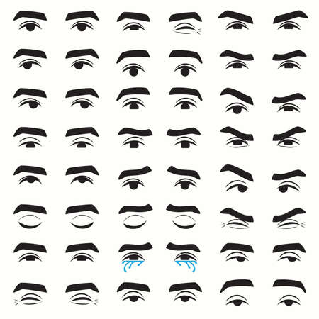 man's eyes expressions, set of eyes emotion, vector illustration of character feelings