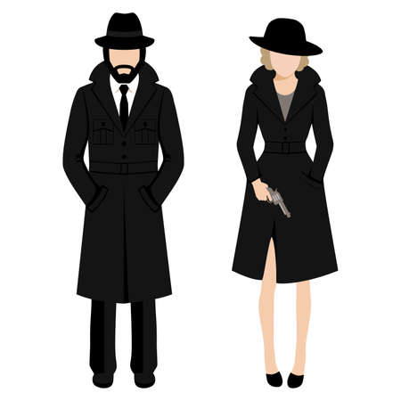 Vector illustration of a detective spy man and woman character.